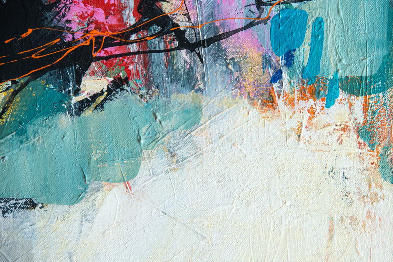 Creative art background hand drawn acrylic painting. Closeup shot of brushstrokes colorful texture acrylic paint on canvas. Modern contemporary art. Abstract composition for design elements.  From my own paintings.